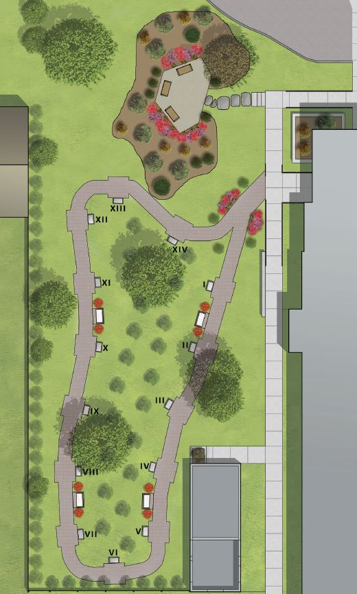 way of the cross garden layout